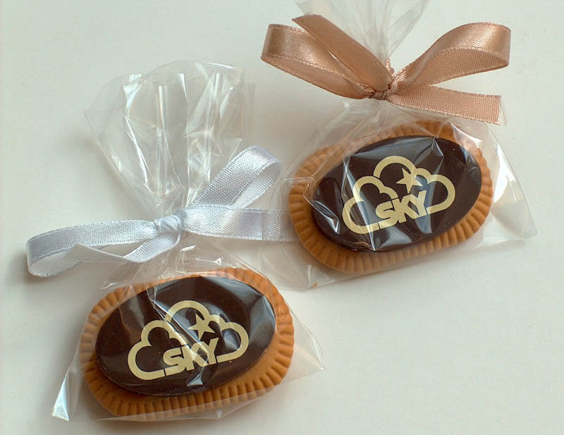 Personalized Chocolate - Coffee Biscuit with Chocolate in a Polybag with ribbon, 5g