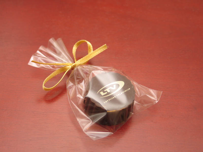Praline With Filling - Praline with Hazel Nut Cream Filling in a polybag with Ribbon, 13g