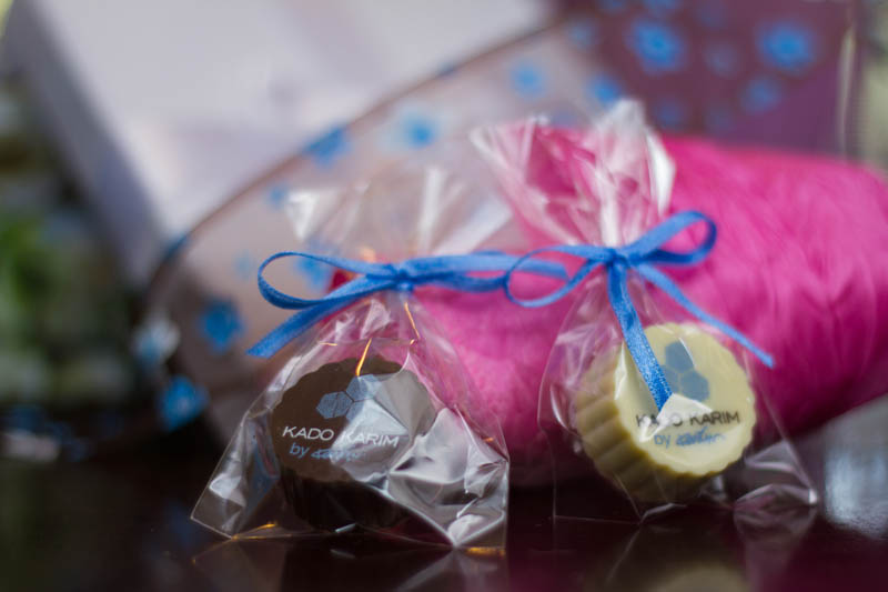 Printing On Chocolate - Praline with Hazel Nut Cream Filling in a polybag with Ribbon, 13g