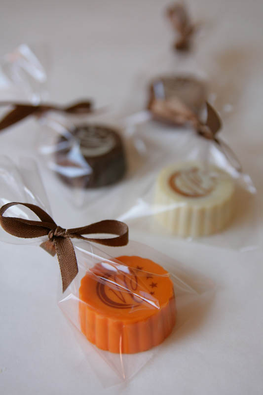 Exhibition Marketing - Praline with Hazel Nut Cream Filling in a polybag with Ribbon, 13g